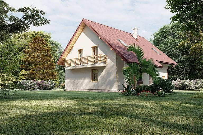 Rendering esterni, villetta con tetto spiovente e giardino vista lato sud.