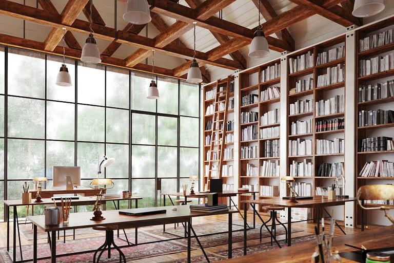 Rendering interni, libreria biblioteca con alti soffitti e vetrata, pavimento in legn