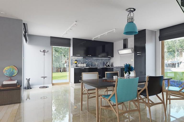Rendering interni, cucina sala da pranzo con pavimento in marmo lucido