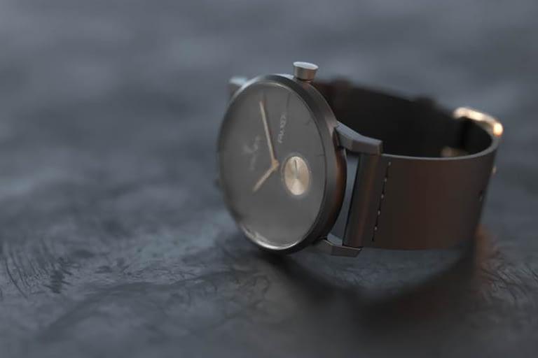 Rendering di prodotto, orologio di stile nero.