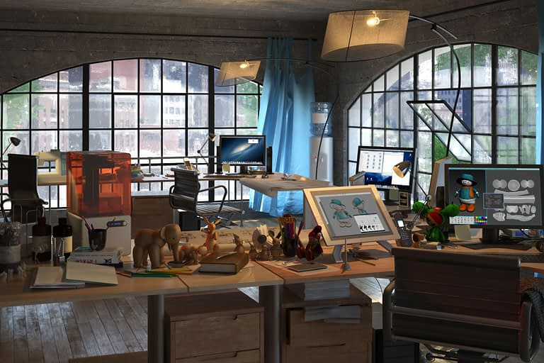 Rendering interni, stanza studio open space con grosse finestre ad arcata dallo stile industriale.