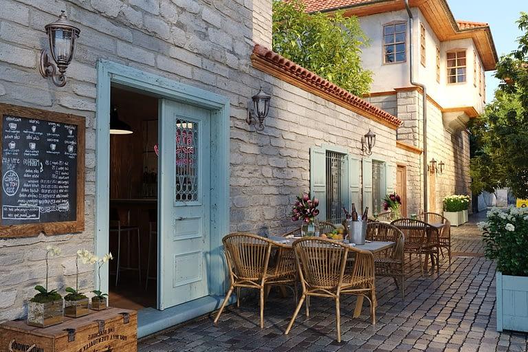 Rendering esterni, esterno di un pub ristorante su vicolo stretto a ciotol