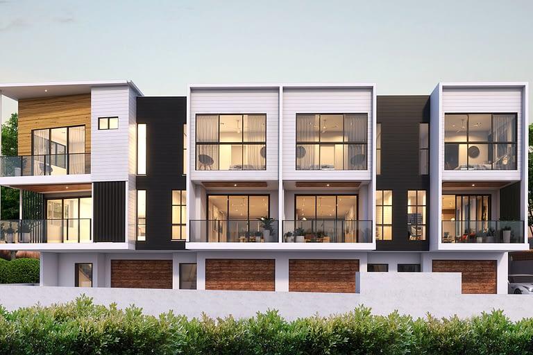 Rendering per l'architettura, villette a schiera con illuminazione interna