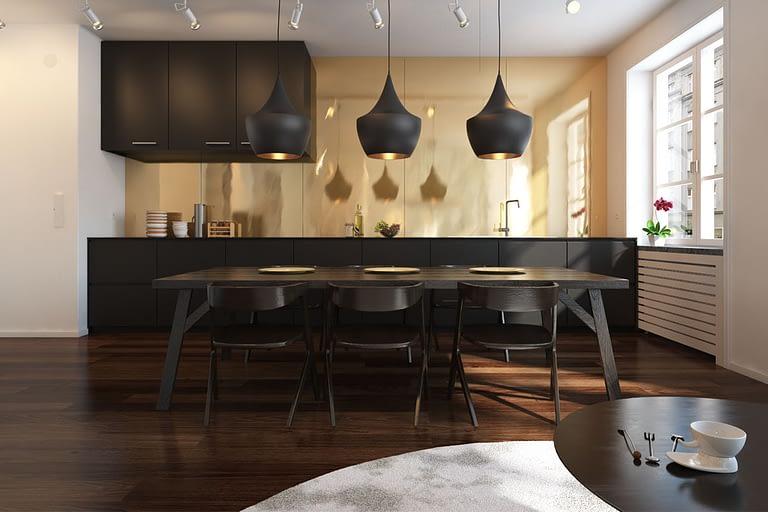 Rendering interni, cucina dallo stile moderno, con isola centrale e tavolo in legno di design colore scuro.