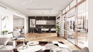 rendering di appartamento in stile scandinavo