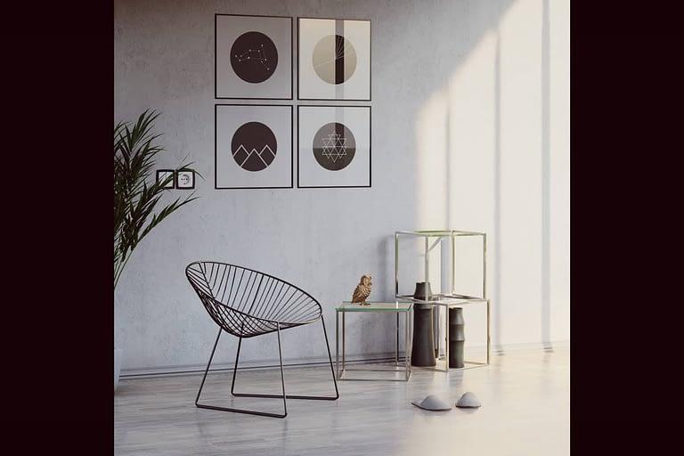 Rendering di interni, porzione di stanza con sedia e tavolini in vetro-metallo luce diurna