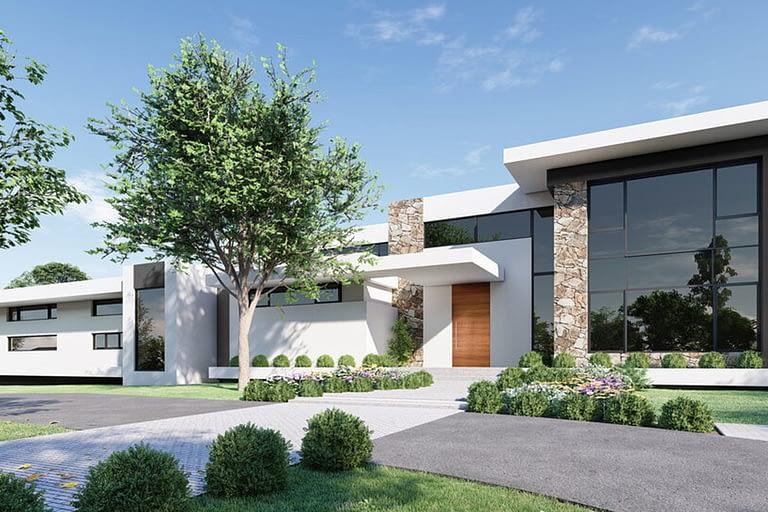 Rendering per l'architettura, villetta residenziale moderna