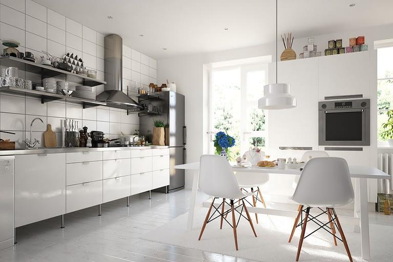 Rendering interni, cucina classica retrò con tavolo bianco e pensili in alluminio