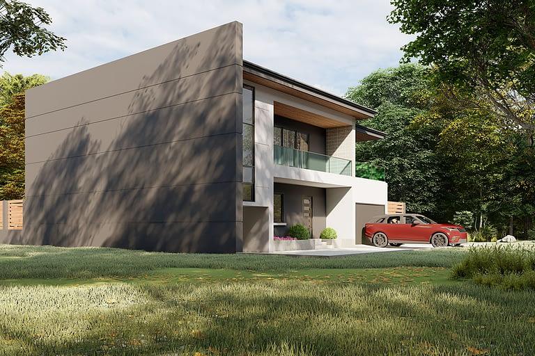 Rendering esterni, villetta stile moderno con giardino vista lato sud.