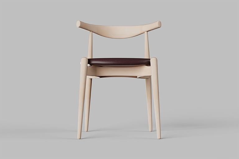 Rendering di prodotto, sedia di design con seduta imbottita e completamente di legno