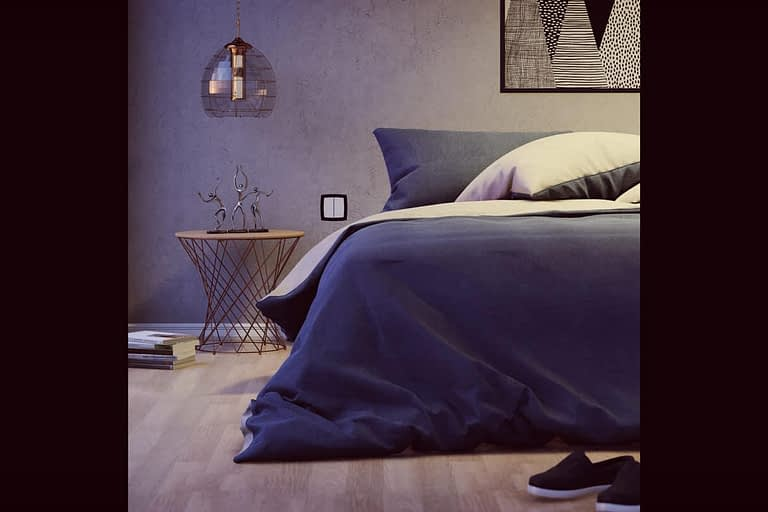 Rendering di interni, camera da letto in stile moderno con parquet