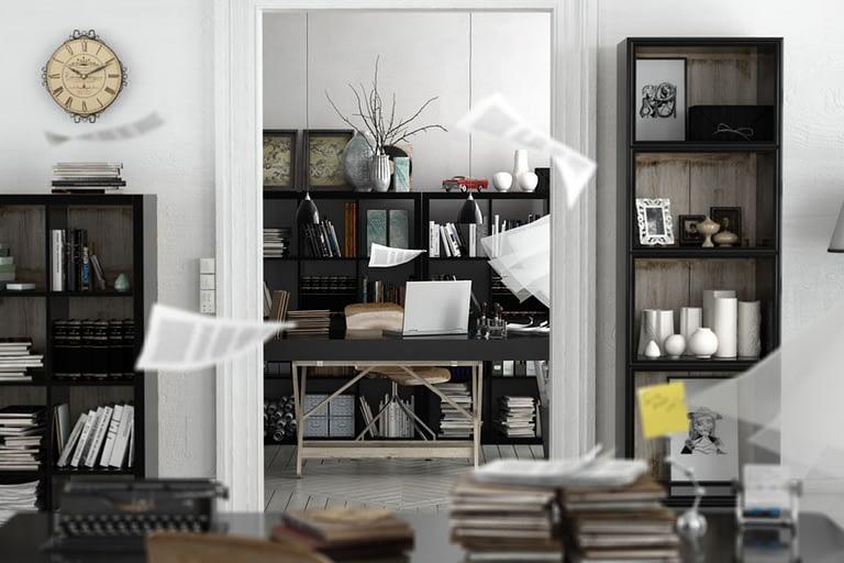 Rendering interni, stanza studio con libreria e foglio che volano