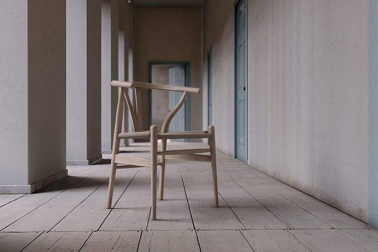 Rendering di interni, sedia di design ambientata in corridoio esterno