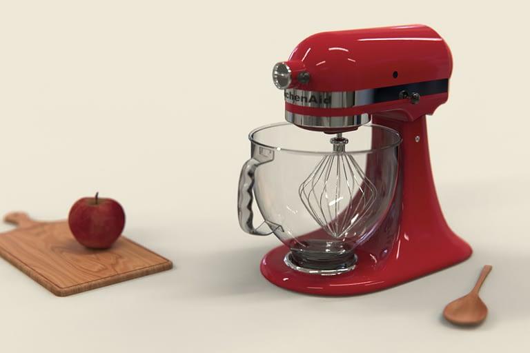 Rendering di prodotto, planetaria kitchenAid colore ROSSO.
