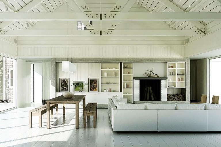 Rendering interni, sala da pranzo open space con camino, e divano, rivestimenti in legno bianco