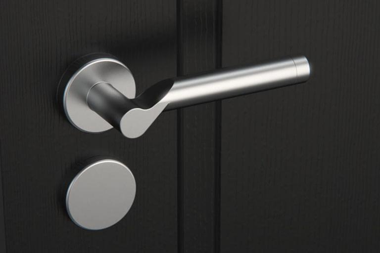 Rendering di prodotto, maniglia di porta per interno in alluminio