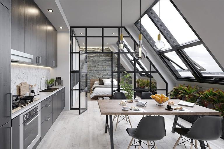 Rendering interni, mini appartamento stile moderno, con cucina a vista, tavolo da pranzo e camera da letto con vetrata a vista.