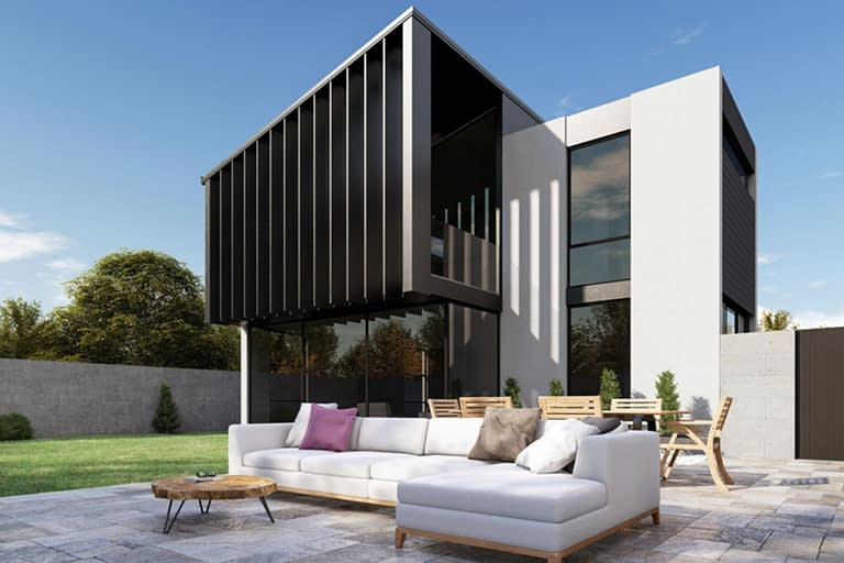 Rendering esterni, villa in stile moderno esterno del giardino di proprietà