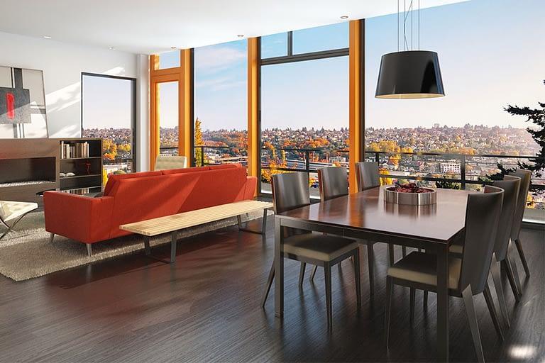 Rendering interni, attico con vista sulla città soggiorno con tavola da pranzo e divano rosso.