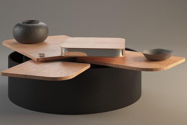 Rendering di prodotto, tavoloino multiuso con vano porta-oggetti.