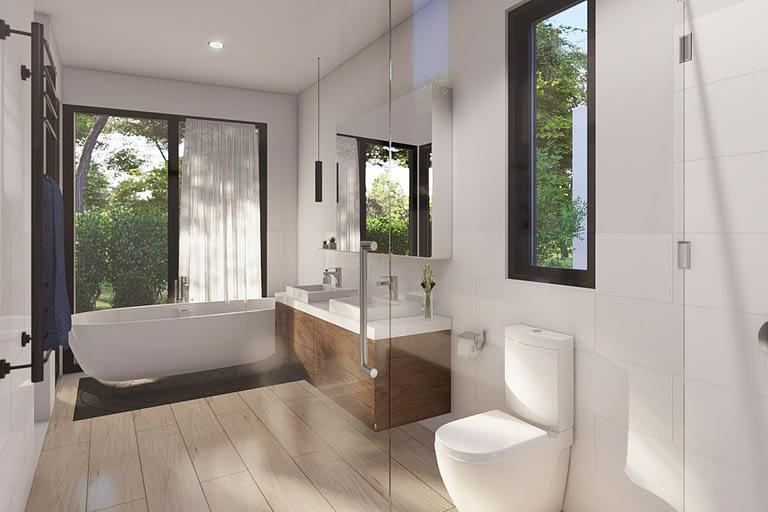 Rendering interni, bagno in stile moderno con vasca di design e mobili a sospensione