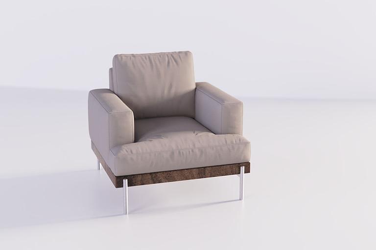 Rendering di prodotto, rendering poltrona di design grigia con fondo in legno