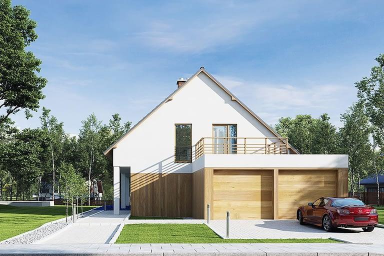Rendering esterni, villetta con tetto spiovente, garage a duo posti e giardino