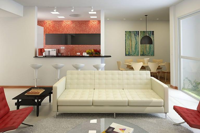 Rendering interni, soggiorno open space con cucinino a vista