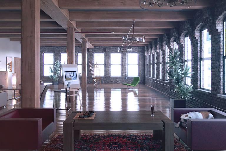 Rendering interni, salone con pareti in muratura e pavimento lucido in parquet