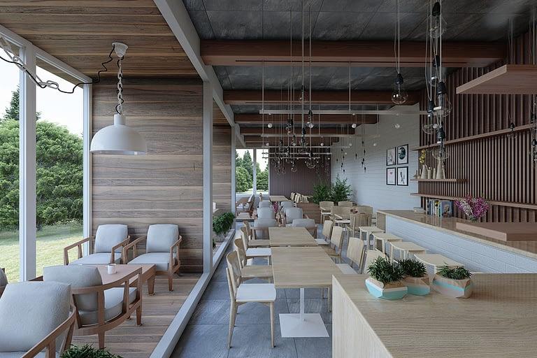 Rendering per l'architettura, interno di un ristorante