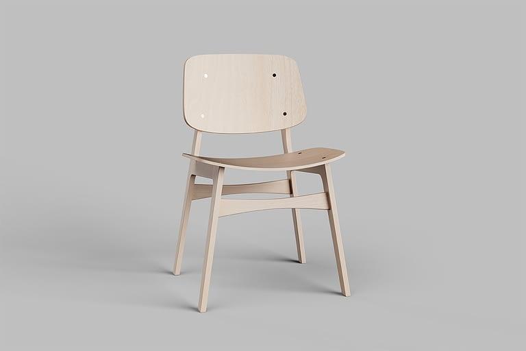 Rendering di prodotto, sedia di design fatta interamente di legno.