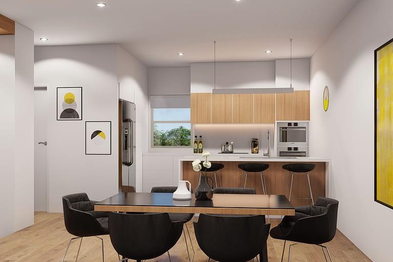 Rendering interni, miniappartamento con openspace con cucina a vista