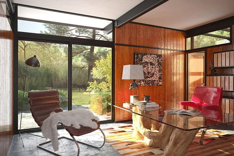 Rendering interni, sudio ufficio con polotrone di design e porta a vetri che affaccia su giardino di proprietà