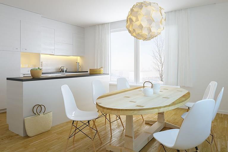 Rendering interni, cucina moderna bianca con tavolo centrale in legno massiccio e sedie di design