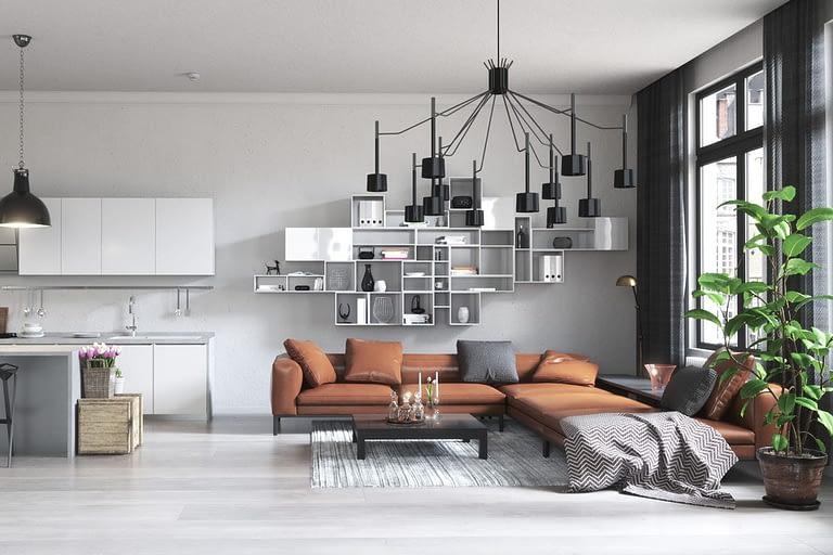 Rendering interni, soggiorno con divano marrone,cuscini tavolino di design e tappeto.