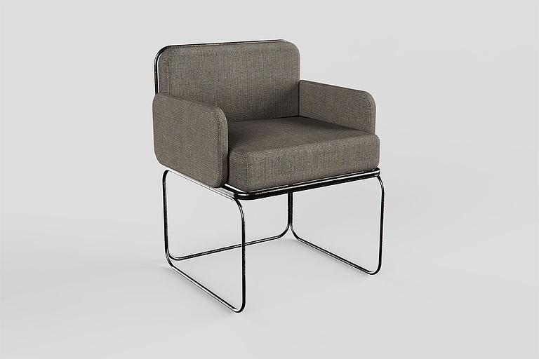 Rendering di prodotto, rendering poltrona di design grigia molto imbottita con gambe e seduta in metallo.