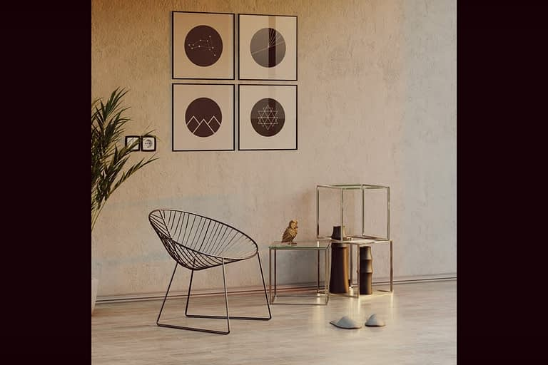 Rendering di interni, porzione di stanza con sedia e tavolini in vetro-metallo luce tramonto