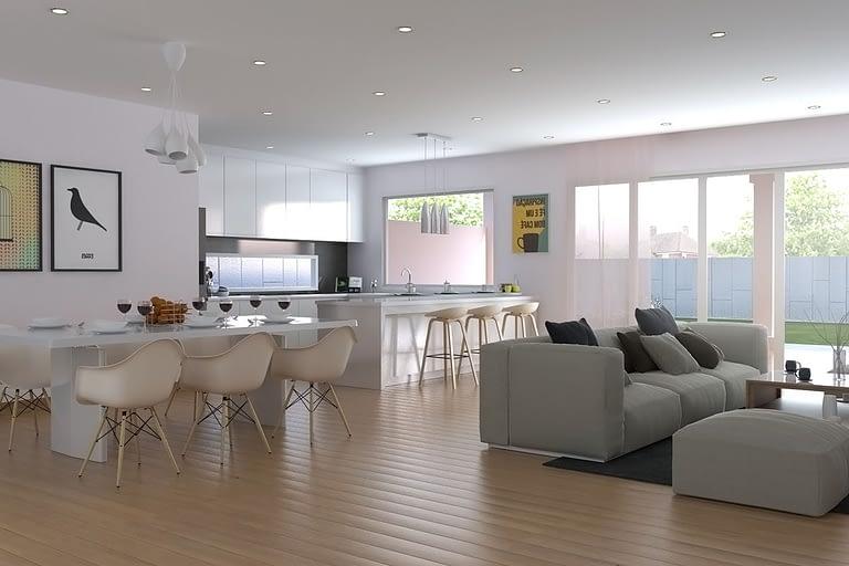 Rendering interni, soggiorno open space con cucina a vista e penisola con sgabelli e tavola da pranzo.