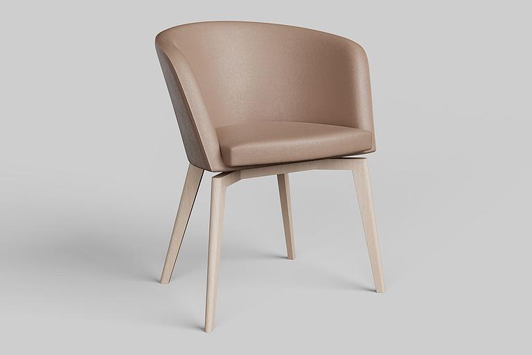 Rendering di prodotto, poltrona di design con imbottitura colore beige e struttura in legno