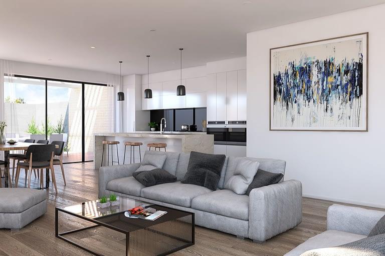 Rendering interni, openspace con divano tavolo da pranzo e cucina con isola centrale.