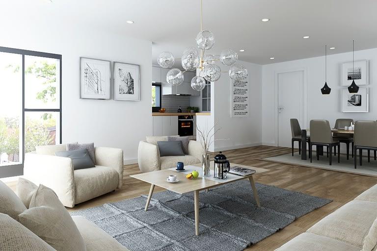Rendering interni, soggiorno open space con cucinino a vista e tavola da pranzo