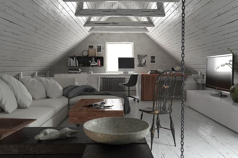 Rendering interni, mansarda openspace con divano e scrivania studio