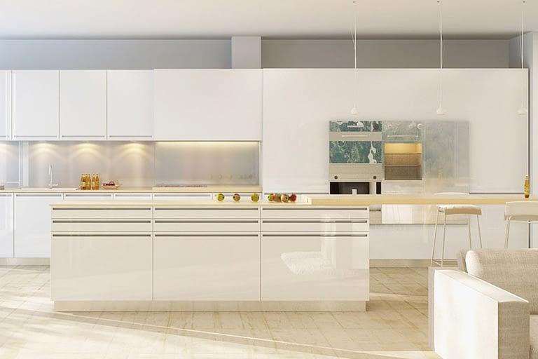 Rendering interni, cucina moderna bianca con sgabelli e pavimento in parquet