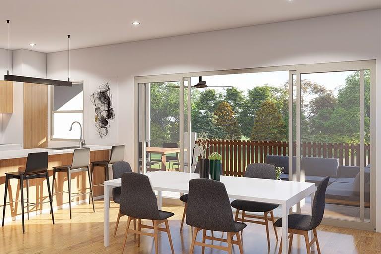 Rendering interni, cucina sala da prnazo stile moderno.