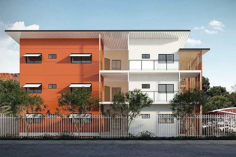 Rendering per l'architettura, condominio bicolore