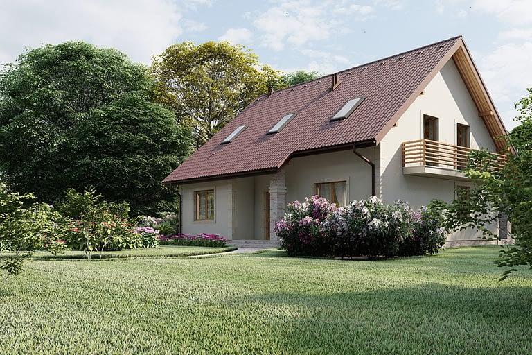 Rendering esterni, villetta con tetto spiovente e giardino vista lato est.