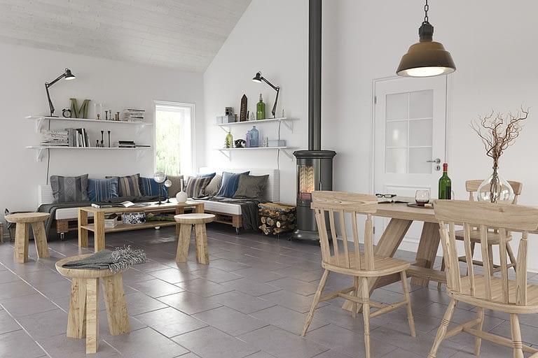 Rendering interni, sala da pranzo open-space con stufa a pellet divano e tavolo da pranzo