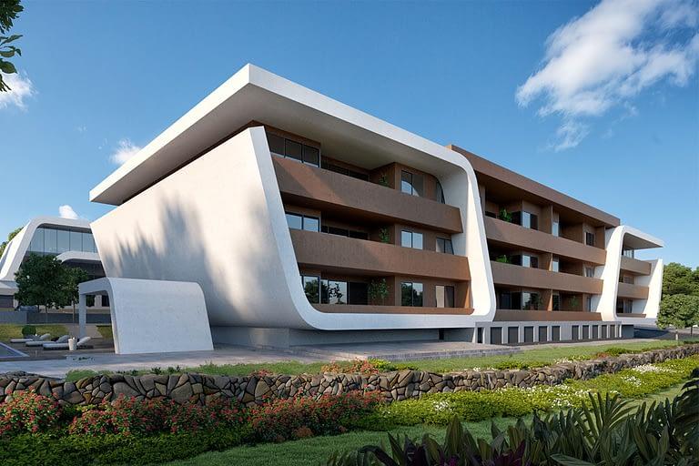 Rendering per l'architettura, palazzina residenziale futuristica